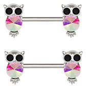 PAIR - Aurora Bling Owl Steel Nipple Ring Barbells