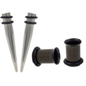 4 Pc Ear Stretching Kit 7mm (1G) Tapers/Black Tunnels