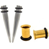 4 Pc Ear Stretching Kit 7mm (1G) Tapers/Gold IP Tunnels