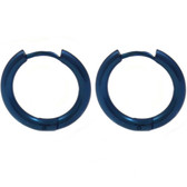 Blue IP Steel Hinge Hoop Earrings (10-20mm)