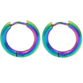Rainbow Anodized Hinge Hoop Earrings (10-20mm)