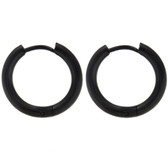 Black IP Steel Hinge Hoop Earrings (10-20mm)