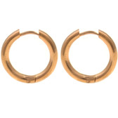 Rose Gold-Tone IP Hinge Hoop Earrings (10-20mm)