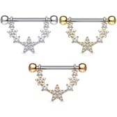 PAIR - CZ Linked Stars Nipple Barbells 14G