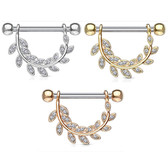 PAIR - CZ Hanging Leaf Nipple Barbells 14G