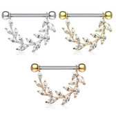 PAIR - Gemmed Fancy Vine Nipple Barbells 14G