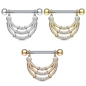 PAIR - Three Line Dangle Nipple Barbells 14G