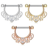 PAIR - Heart Center Filigree Nipple Barbells 14G