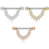 PAIR - CZ Linked Feather Nipple Barbells 14G