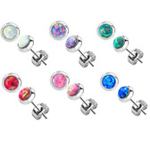 4mm Synthetic Opal Stainless Steel Stud Earrings