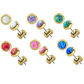 4mm Synthetic Opal Goldtone Steel Stud Earrings