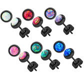 4mm Synthetic Opal Black IP Steel Stud Earrings