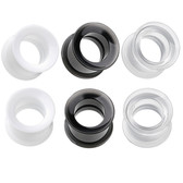 "3 Pairs Internally Threaded Acrylic Tunnels (6g-1/2"")"