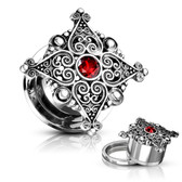 "Filigree Hearts Red Accent Center Plugs (2g-5/8"")"