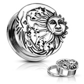 "Sun Moon & Stars Screw-Fit Plugs (2g-1"")"