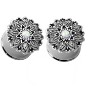 "Synthetic Opal Lotus Flower Steel Plugs (4g-5/8"")"