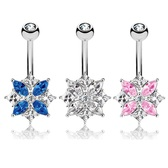 CZ Assortment Cluster Steel Belly Ring