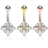Cross CZ Shield Steel Belly Ring