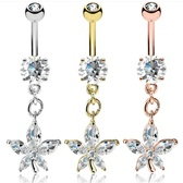 Marquise CZ Gemmed Flower Dangle Belly Ring