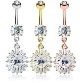 Pear CZ & Clear Accent Fan Dangle Steel Belly Ring