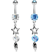 Star, CZ & Leaf Combo Dangle Steel Belly Ring
