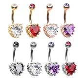Royal Crown & Heart CZ Steel Belly Ring