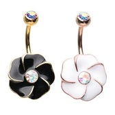 Large Hibiscus Flower Steel Belly Ring