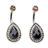 Black Teardrop 1920s Inspired Belly Ring