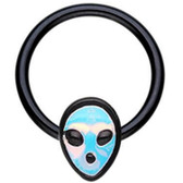 Shining Alien Black Steel Captive Bead Ring CBR 16G