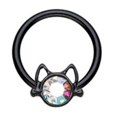 Cat Face Black Steel Captive Bead Ring CBR 16G