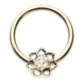 Lotus Sparkle Goldtone Captive Bead Ring CBR 16G