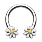 Daisy Flowers Steel Horseshoe Ring