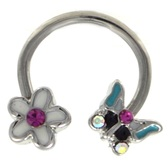 Flower & Butterfly Steel Horseshoe Ring