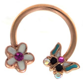 Flower & Butterfly Rose Goldtone Horseshoe Ring