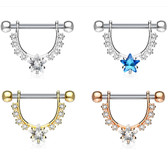 PAIR - Star CZ & Gem Lined Nipple Barbells 14G