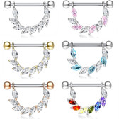PAIR - Fancy Marquise CZ Gemmed Nipple Barbells