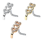 Triple Heart Nose Crawler Nose Ring Stud 20G/18G