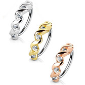 Twisted Style Clear CZ Nose Cartilage Hoop 20G/18G