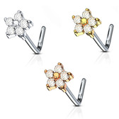 Five Gem Flower L Shaped Nose Ring 20G
