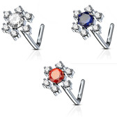Multi-Gem Snowflake L Shaped Nose Ring 20G