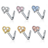 Triple CZ Heart Top L Shaped Nose Ring 20G