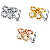 CZ Ribbon Top L Shaped Nose Ring 20G