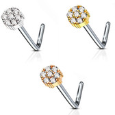 CZ Cluster Circle L Shaped Nose Ring 20G
