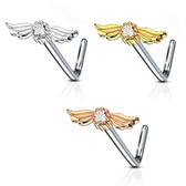 Angel Wings L Shaped Nose Ring 20G