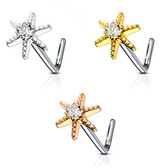 Shining Star L Shaped Nose Ring 20G