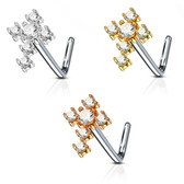 CZ Gemmed Cross L Shaped Nose Ring 20G