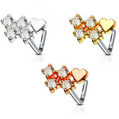Four Clear CZ Heart L Shaped Nose Ring 20G