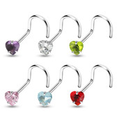 6-Color Set CZ Heart Top Nose Ring Screws 20G/18G