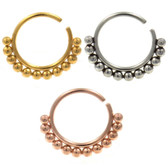 Bali-Inspired Beaded Bendable Nose Ring Hoop