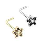 2-Pack Set Antique Style Flower L Shaped Nose Rings